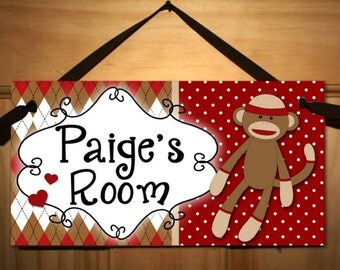 Sock Monkey DOOR SIGN Girls Boys Bedroom and Baby Nursery Kids Bedroom Wall Art DS083