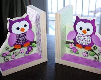 Pretty Purple Owl Girls Nature Kids Bedroom Baby Nursery Wood Bookends BE0001