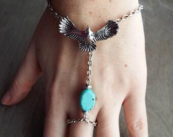 Bohemian Eagle Southwestern  Bracelet Boho Hippie Stone Tribal Silver Turquoise Native American Inspired