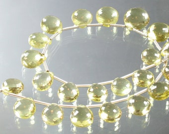 1/2 Strand AAA Lemon Quartz Faceted Hear Briolettes