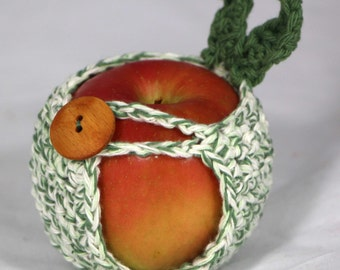 Apple Cozy Jacket in Sage Green and White Twine Cotton Yarn Crocheted Apple Holder