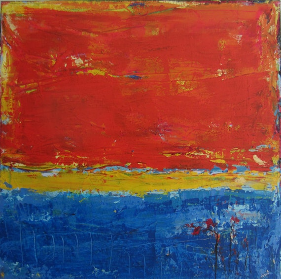reserved abstract landscape blue orange painting 24 x by faithart. Black Bedroom Furniture Sets. Home Design Ideas