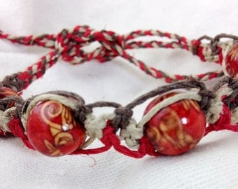 Hemp Macramé Bracelet, Anklet or Choker - Natural, Red and Brown - Beaded - Adjustable - 6 to 12 Inches