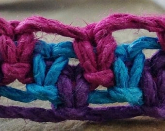 Hemp Macramé Bracelet, Anklet or Choker - Fuchsia, Purple and Turquoise - Adjustable - 6 to 11 Inches