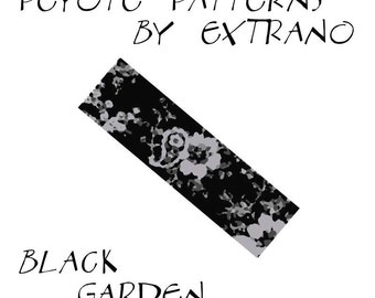 Peyote Bracelet Pattern by Extrano -  BLACK GARDEN - 4 colors only - Instant download