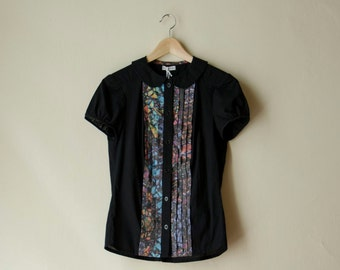Black Shirt with Short Sleeves and Peter Pan Collar, Black Womens Blouse