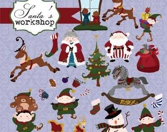 Instant Download - Santa's elves Christmas- digital clipart- printable artwork - commercial use