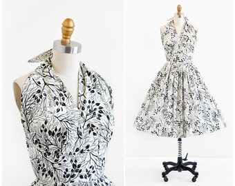 vintage 1950s dress / 50s dress / Tree Branches Woods Print Party Dress