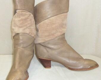Vintage Zodiac Slouch Boots 8 1/2M Leather Suede Fashion BOHO