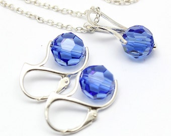 Sapphire Blue Jewelry Set, Swarovski Crystals Sterling Silver, Simple Modern Blue Jewelry, Necklace and Earrings, Sapphire Set