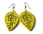 Yellow Wooden Leaf Earrings