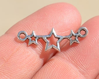 10  Silver  Star Connector Charms SC1227