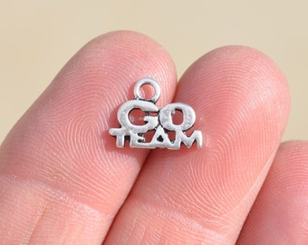 10  Silver GO TEAM Charms SC2845