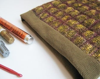 Grunge Burlap Pouch, painted, grid quilted, velcro closing, tool pouch, wallet or organizer