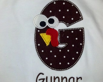 Turkey Initial Shirt Boys Girls Thanksgiving Custom Personalized Name Included