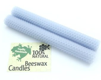 Hand-rolled Beeswax Honeycomb Tapers in Light Blue  Available in 6 Heights