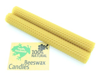 Hand-rolled Beeswax Honeycomb Tapers in Natural  Available in 6 Heights