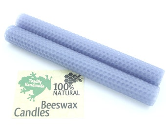 Hand Rolled Beeswax Honeycomb Tapers in French Blue Available in 6 Heights