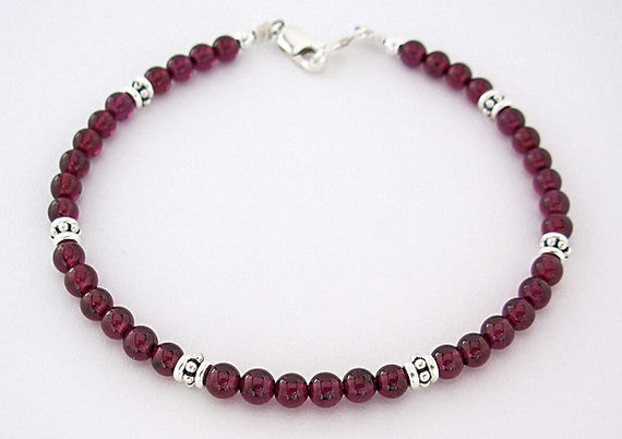 Special Purchase for bobbieburman: Garnet Anklet with Sterling Silver Accents, Garnet Ankle Bracelet