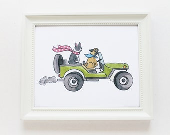 Art Print - Jeep Dogs