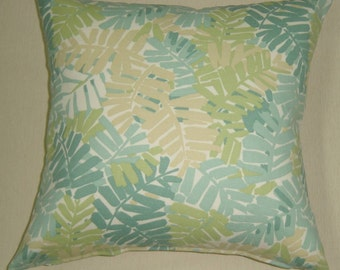 pillow throw pillow sunbrella stripes print outdoors indoors pillow palm leaf turquoise shabby chic SALE