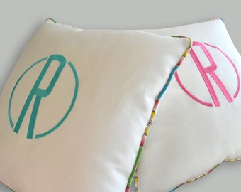 EMBROIDERY MONOGRAM PILLOW - White Sunbrella - New Style and Colors - Indoors or Outdoors - Any Color - Any Size