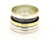 Silver and gold spinner ring for men and women