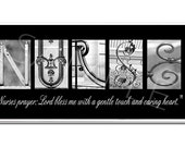 NURSE  Inspirational Plaque black & white letter art