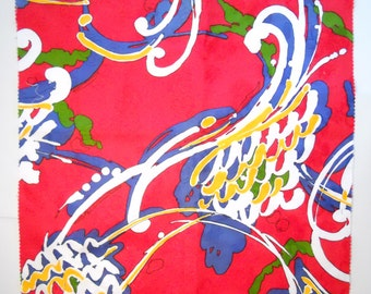 """PSYCHEDELIC EMBROIDERED FLORAL red vintage 1960s cotton blend material, 17.25"""" inches square"""