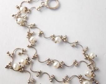 WEDDING STERLING FAUX mini pearls necklace, moderne bride, curved links, delicate, slender shape, formal, bride, summer wedding