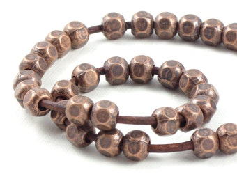 50 antique copper metal faceted tribal style BEADS with large 2.9mm HOLE . 6mm x 6mm x 6mm