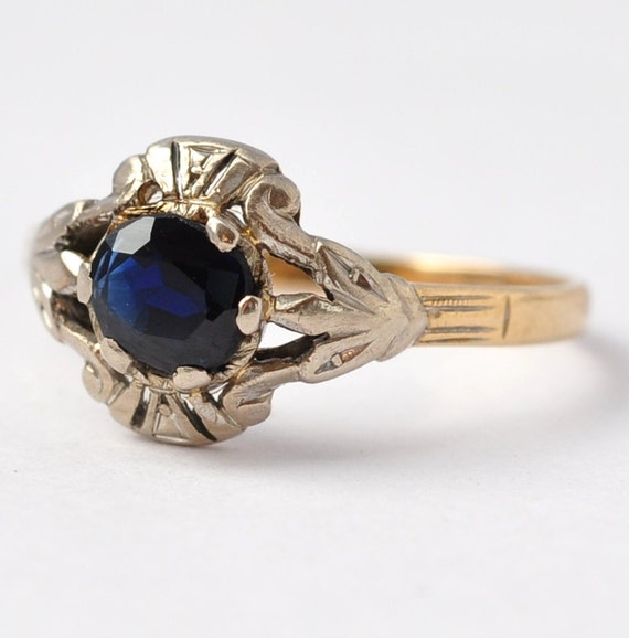 Art Nouveau Sapphire Engagement Ring Solitaire Antique Wedding