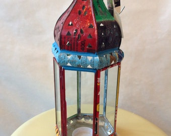 Recycled metal votive holder Moroccan style lantern