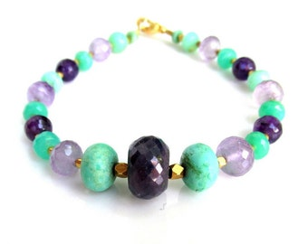 Sapphire, Chrysoprase & Amethyst Bracelet ~ Natural Gemstones