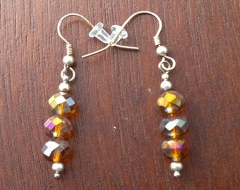 Glittery Orange Dangle Earrings