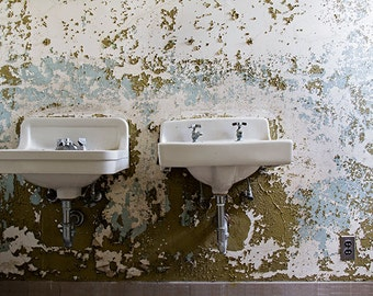 Bathroom Art, Pair of Sinks Photography, Urban Decay Abandoned Photograph, Peeling Paint, Olive Green White and Blue, Halloween Art