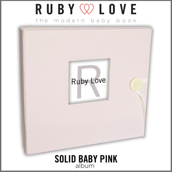 Baby Book . Baby Memory Book . SOLID BABY PINK Album . Ruby Love Modern Baby Memory Book