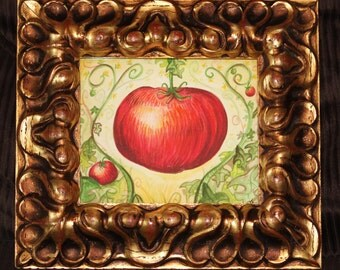Creole Tomato original watercolor custom ornate frame New Orleans