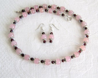 Garnet and Rose Quartz Necklace and Earrings