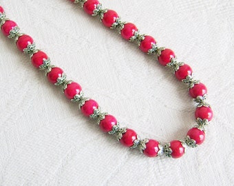 Dark Pink Necklace and Earrings