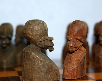 unusual vintage wooden African chess piece...  K