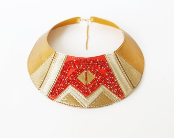 Leather Bib Necklace Embroidered Necklace Red Gold Leather Necklace Crown Necklace One Of a Kind