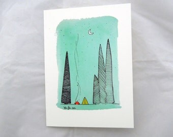 Greeting Card - Blank Inside - Camping in the Forest Card- For Travelers, Journeymen Adventurers Adventure Mountain