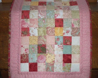 """Spring Patchwork ~ Table Topper or Doll Quilt 29 1/2 """" x 19 """" inches"""