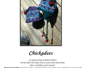 PATTERN ONLY Chickadee and Cherries Ear Flap Hat for 6 sizes