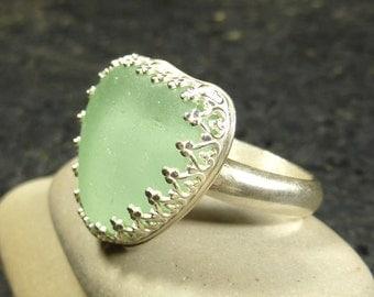 Seaglass Heart Ring in Aquamarine
