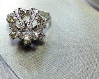 Cluster Vintage Ring French Repousse Retro  Diamond Cubic Zirconia Ring In 18kt Gold White Signed HGE SIZE 7  On SaLe Now