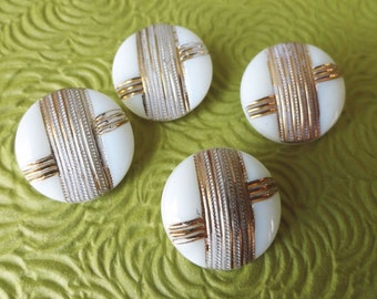 High Fashion Vintage Glass Buttons - 4 White and Gold 1930s