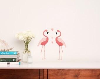 Mini Fabric Wall Decal - Flamingos (reusable) NO PVC
