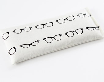 Lavendar Eye Pillow, Hipster Eye Glasses, Organic Flax Lavender Pillow, Meditation & Yoga